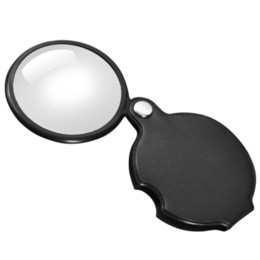 Wholesale Mini Magnifying Glass Portable - Portable Rotatable Mini 5X Glass Lens Folding Cortical Magnifier With Leather Pouch Magnifying Glass Loupe