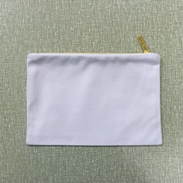 Wholesale clutch bag blank - Canvas clutch bag pure cotton gift cosmetic bag blank canvas party gift makeup bag 7x10 inches with gold metal zipper