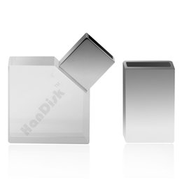Wholesale 32 memory stick - HanDisk Metal Square Transparent Flash Drive 128MB 1 2 4 16 32 64 128gb Usb Pen Drive Memory stick Portable Hard Drive EU077