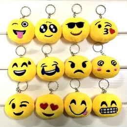 2019 catena chiave smiley emoji QQ emoji ciondolo peluche Portachiavi Emoji Smiley Emozione QQ giallo Espressione giocattolo farcito bambola della peluche per la borsa pendente mobile BFFA202 catena chiave smiley emoji economici