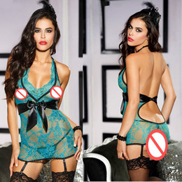 Wholesale Halter Bowknot - Seductive Lace Women Halter Babydoll Transparent Sexy Bowknot Lingerie Backless Sleepwear Hot Erotic Nightwear Lovely Gift