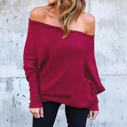 Wholesale Ladies Batwing Sleeve - Women Blouses Autumn 2018 Hot Sexy Off Shoulder Shirts Ladies Long Batwing Sleeve Slash Neck Blusas Casual Solid Tops