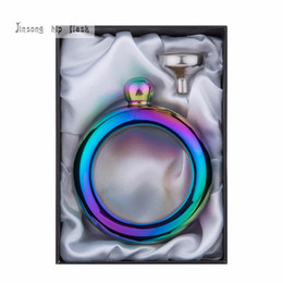 Wholesale Pass Plate - New style of Bangle Bracelet hip flask 4oz High quality Rose golden plate or Rainbow Color plate,Passed FDA test gift box