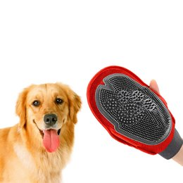 Wholesale Dog Massages - 26*16Cm Dog Hair Remover Massage Bath Double Sided Grooming Gloves Cleaning Brush Pet Supplies Adjustable Strap One Color