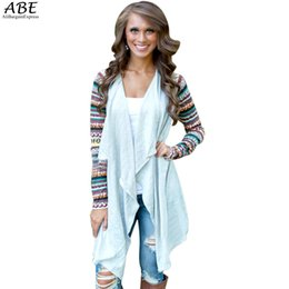 Wholesale Wholesale Aztec - Wholesale- Aztec sleeve women Cardigan Female Long Asymmetrical Knitted Sweater casual Cardigans Sweaters Air conditioning Coat