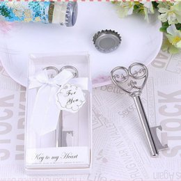 Wholesale Wine Opener Gift Box - Key to My Heart Simply Elegant victorian wine bottle opener Barware Tool wedding Party favor gift Silver With White Retail Box F2017162