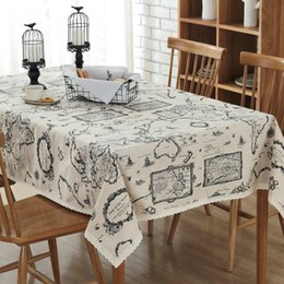Wholesale Tablecloth Wholesale - Table Cloths Cotton Linen Table Runners Map Printing Customized Home European Simple Lace Tablecloths Hot Selling Wholesale Table Covers