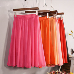 Wholesale Pleated Chiffon Midi Skirt - Wholesale- New Fashion Women's 23 Color High Waist Chiffon Skirt 2017 Summer Ladies Casual Slim Beach Pleated Skater Midi Skirts Saia SK17