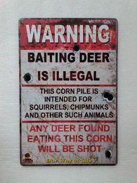 Wholesale Metal Decors - Warning Baiting Deer is Illegal Vintage Rustic Home Decor Bar Pub Hotel Restaurant Coffee Shop home Decorative Metal Retro Tin Sign