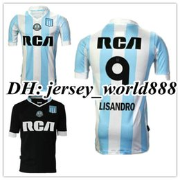 Wholesale Racing Shirts - Top Thai quality 2017 2018 Argentina Racing Club de Avellaneda jersey 17 18 Home Blue Away black MILITO 22 LISANDRO 9 Racing football Shirt