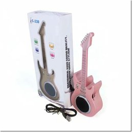 Wholesale Usb For Guitar - DHL free portable wireless bluetooth guitar speaker with microphone TF USB FM for choose MP3 MP4 stereo speaker with retail package