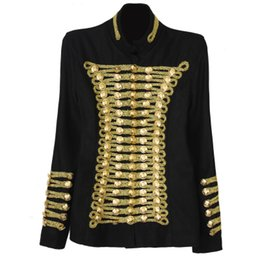 Wholesale Napoleon Jackets - 2016 New arrival Brand Woman Jackets Napoleon Military Uniform Style Black stand collar Double-breasted Slim woolen coat jacket
