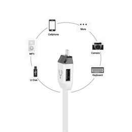 Wholesale Cables Usb Y Otg - 2 in 1 Micro USB 2.0 Data Y cable OTG F118 cable support data transmission and charging