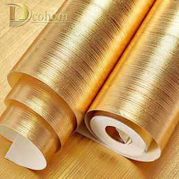 Wholesale Foil Insulation Roll - Wholesale- High Quality Plaid Textured Striped Gold Foil Wallpaper Living room Restaurant Luxury Wall Decor Waterproof Embossed Wall paper