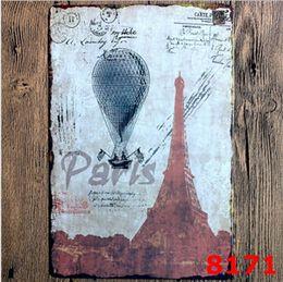 Wholesale Stickers Paris - Tin Painting London Paris USA Statue of Liberty Vintage Craft Sign Retro Metal Poster Bar Pub Signs Wall Art Sticker Room Decoration