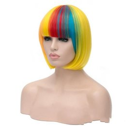 Wholesale Cheap Bob Style Wigs - Women's Bob Style Wigs Cheap Multi-color Short Cosplay Wig High Quality Synthetic Costume Hair Halloween party Wigs