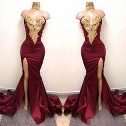 Wholesale African Lace Wears - Sexy Burgundy Mermaid High Split Prom Dresses 2017 Gold Lace Appliques High Neck Prom Dress African Party Gowns Dress for Party Wear