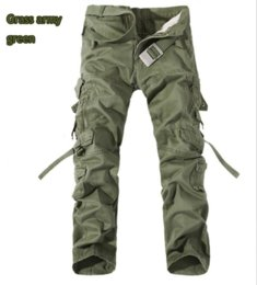 Wholesale Brown Overalls - Wholesale-Tactical Men Loose Cargo Commando Style Full Length Trousers Plus Size Multi-Pocket Overall Washed Cotton Men Casual Trousers