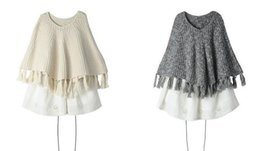 Wholesale Wholesale Capes Ponchos - New Autumn Europe Fashion Baby Girls Cape Sweaters Kids Knitted Pullovers Tops Tassels Knitwears Children Ponchos Sweaters Apricot Gray