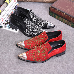 Wholesale Handcrafted Dress - 2017 New fashion Style Pattern Leather Men's Shoes with Rhinestone Luxurious Handcrafted Smoking Loafers Men's Flats