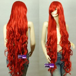 Wholesale Extra Long Curly Cosplay Wig - 120cm Dark Red Extra Long Curly Cosplay Wigs Seamlessly Contours 3A