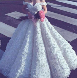 Wholesale Short Fairy Dress White - 2017 Luxury Ball Gown Wedding Dresses Off the Shoulder Sweetheart 3D Floral Appliqued Floor Length Puffy Fairy Bridal Gowns