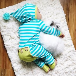 Wholesale Size Children Clothes - Newborn striped rompers Baby Boys Girls Super Cute Stripe Clothing Hooded Romper Children Costume Jumpsuit Clothes