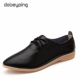 Wholesale Wholesale Pointed Ballet Shoes - Casual Ballet Shoes Women Soft Genuine Leather Women's Loafers Slip On Woman Flats Shoe Flexible Peas Footwear Large Size 35-41
