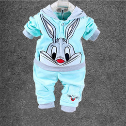 Wholesale Girls Autumn Apparel - Wholesale- Hot!!New 2016 Baby Clothing Set Cartoon Kids Apparel Boys Girls Children Hoodies And Pant Children's Clothing Sets For Autumn