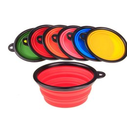 Wholesale New Collapsible foldable silicone dog bowl candy color outdoor travel portable puppy doogie food container feeder dish on sale