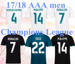 Wholesale Gold S 14 - 2018 Real madrid soccer Jersey 17 18 #14 MBAPPE RONALDO home away black JAMES BALE RAMOS ISCO KROOS MODRIC Champions League patches shirts.