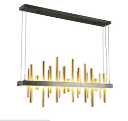 Wholesale Led Lighting For Shop - Art design for dinning room Black Gold 120cm chandelier lights Modern led lustres Restaurant exhibition hall shop lamp LLFA