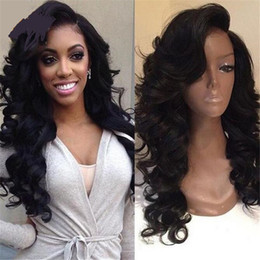 Wholesale Thick Density Lace Front Wigs - Thick Loose Body Wave Density 180% Human Hair Full Lace Wigs Brazilian Virgin Hair Glueless Lace Front Wig Thick Human Hair Wigs