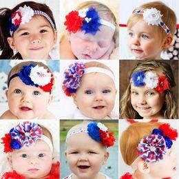 Wholesale Tiara Bands Wholesale - baby Girls US Independence Day Headbands Rhinestone Chiffon Flower hair band Sparkle bands 4th of July headband stripe Headwear
