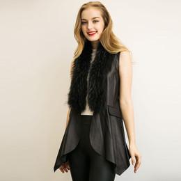 Wholesale Thin Leather Jackets For Women - New Leather Vest Gilet For Women Faux Fur Shawl Sleeveless Jacket Coat Asymmetric Long Waistcoat Black Winter Outwear CJF0901