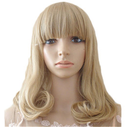 Wholesale Cheap Short Blonde Wigs - WoodFestival women bob wig blonde curly wig with bangs pear linen short hair wigs heat resistant fiber synthetic wigs cheap