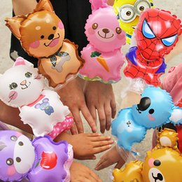 Wholesale Wholesale Purple Coats - Cartoon animal Hero Wrist Balloon Party favors Christmas toys Inflated bear rabbit spiderman lovely cute bracelets Worn on the wrist 100pcs