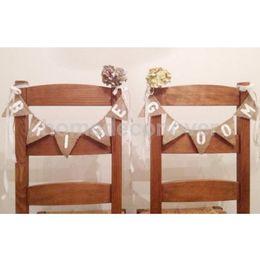 Wholesale Rustic Wedding Banner - Wholesale-Vintage Hessian Burlap Rustic Wedding Bride Groom Mini Chair Bunting Banner Shabby Chic Sign Decor