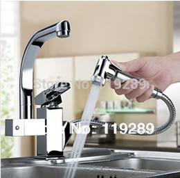 Wholesale Fitting Sink Taps - Wholesale- Torneira Cozinha.Polished Chrome Brass Double Spouts 360 Degree&Pull Out Kitchen Faucet.Kitchen Tap Sink Mixer. XK-014