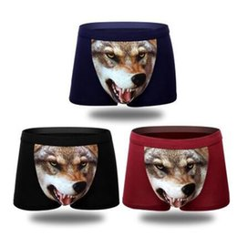 Wholesale Mens Novelty Underwear Wholesale - Cotton Wolf Mens Underwear Boxer Cartoon 3D Panties Underpants Crotch Animal Print Boxers Gay Shorts Hombre Mens Underwear