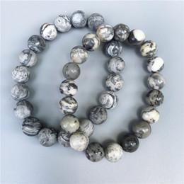 Wholesale Bracelets Pictures - 10mm grey picture jasper beads bracelet,Elastic bracelet ,gemstone bracelet ,bead bracelet,matte or polished stone beads