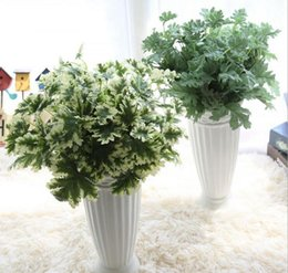 Wholesale Wholesale Silk Flower Leaves - Artificial leaves greenery plants 7 branches silk decoration flowers bridal bouquet for wedding home party holiday decoration 34544