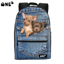 Wholesale- ONE2 Design pocket cute dog animal blue school bag for high  school student shoulder women campus backpack college teenager girls  discount girls ... 1aa6565929401