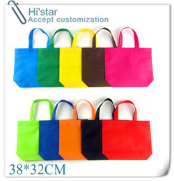 Wholesale grocery carrier - Wholesale- 38*32cm 20pcs Reusable Recycle Environmental Grocery Supermarket Shopping Mall Carrier Non Woven Bags Customized Available