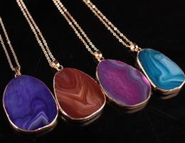 Wholesale Druzy Slice Pendant Gold - Wholesale-Quartz Crystal gold plated blue agate sliced Irregular Natural stone necklace amp pendants chain necklace Druzy Drusy Colares