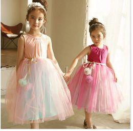 Wholesale Balls Cotton Yarn - Baby girls party dresses children suspender Yarn ball belt dress girls tulle lace pleated dress new summer children princess clothes G0165