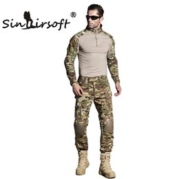 Wholesale Hunting Camouflage Clothing - SINAIRSOFT Gen3 Army Tactical Battle Tight T-shirt camouflage Combat uniform Airsoft clothing T-Shirt+Pants Men Hunting Clothes Shirt Pants