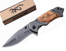 Wholesale Hunting Knife Wood - Christmas Gift Knife 5Cr15Mov Browning X49 Tactical Folding Knife Steel Blade Wood Handle Titanium Huntting Knife B212Q