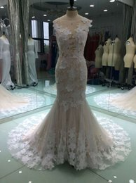 Wholesale Bride Dresses Open Back Mermaid - Sexy Open Back Mermaid Wedding Dresses 2017 Jewel Neck Beautiful Lace Bride Gowns Court Train Illusion Bodice Country Wedding Gowns
