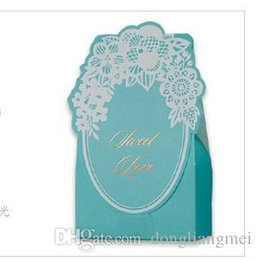 Wholesale Lace Favor Bags - New Wedding candy box Laser Cut Customizable Hollow Crystal Lace Bow Ribbon Wedding gift bags Supplies CB002